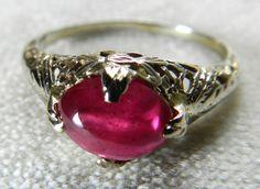 Art Deco Engagement Ring Natural 1.75 Ct Pink by DiamondSoulShop
