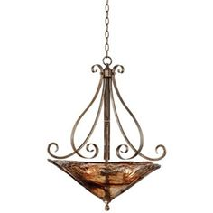 Amber Scroll Golden Bronze Silver Pendant Chandelier 24 Wide Rustic Art Glass Bowl Fixture for Dining Room House Foyer Kitchen Island Entryway Bedroom Living Room - Franklin Iron Works 3 Light Pendant, Lamp Light, Pendant Chandelier, Pendant Lighting, Large Chandeliers, Outdoor Light Fixtures, Amber Glass, Glass Shades, Glass Art