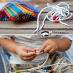 Drinking Straws, Shoelaces and Fine Motor Skills