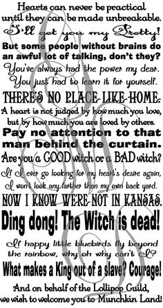 Wizard of Oz Quotes Assorted Sayings Vinyl Wall Decal or Stairs Decal Dorothy...