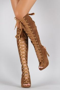 Corset Lace Up Cutout Peep Toe Stiletto Knee High Boot