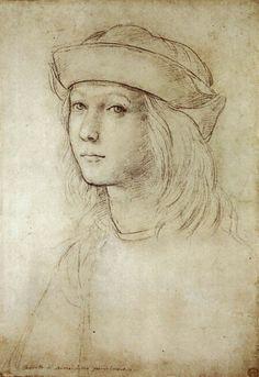 Raphaël (Raffaello Sanzio), ca 1499, Zelfportret, Ashmolean Museum, Oxford. De Italiaanse kunstenaar ging op jonge leeftijd naar Florence waar hij de stijl van zijn beroemde tijdsgenoten leerde. In Rome werkte Raphaël vooral in het Vaticaan waar hij in hoog aanzien stond; op diverse schilderijen staan Leonardo da Vinci en Michelangelo model. Verder is hij ook bekend om zijn portretten, waaronder talloze Madonna's. Hoogrenaissance.