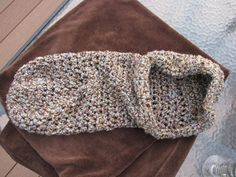 Earthy brown and blue crochet baby cocoon swaddler by 1SweetStitch, $15.00
