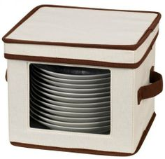 """Dinnerware Storage Chest for Dessert Plates or Bowls - Set of 2 (Tan/Brown) (8""""H x 9""""W x 9""""D) by Household Essentials. $20.99. Color: Tan/Brown. Holds 12 Dessert Plates or Bowls. See-Through Window. Includes 12 Felt Protectors. Size: 8""""H x 9""""W x 9""""D. This Dinnerware Storage Chest holds 12 dessert plates or bowls, keeping them safe while stored in the cabinets. Made of poly cotton canvas with chocolate brown piping, this china storage chest features a see-through ..."""