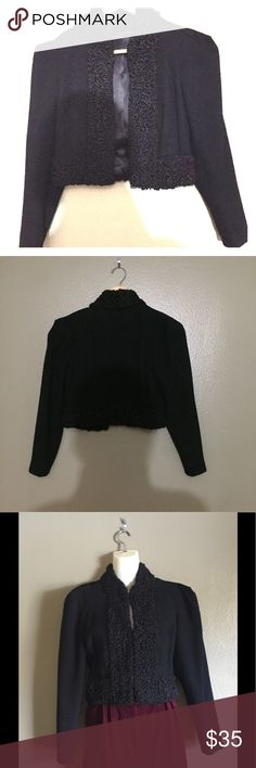 Vintage 50s Blk Cropped Jacket w/Shearling Trim Vintage Black Cropped Jacket w/Shearling Trim/Cuffs. Shearling is real and in good condition. The inside seam has come loose in places but it isn't visible and doesn't affect the look. Decent/ good vintage condition. Authentic Original Vintage Style Jackets & Coats
