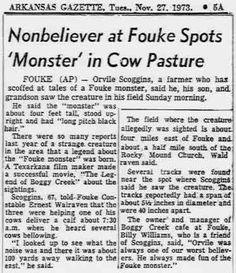 The Fouke Monster and The Legend of Boggy Creek Giant Skeleton, Bigfoot Sasquatch, Phantom, Mothman, Newspaper Article, Cryptozoology, Monster S, Urban Legends, Paranormal