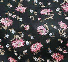 vintage 1950s pure crisp cotton pink & black floral dress fabric