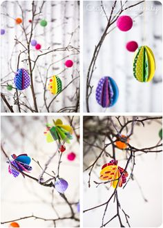 Wool beads in Easter twig - by Craft & Creativity  USE STRING SHAPES = ELMERS GLUE, TWINE, STRING, A MIX, NATURAL COLORS? OVER BALLON SHAPE