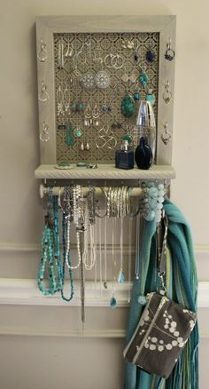 *****This is a MADE TO ORDER listing. You will receive a jewelry organizer the same as the one pictured above (except you get to pick the stain or paint color) but this one already has a home.***** For this listing you will receive a beautiful and very functional jewelry organizer just like the one picture above. Except you get to pick the stain or paint color. This is one of our newest meshes. It a beautiful Mosaic pattern and is powder coated with a beautiful satin nickel finish We…