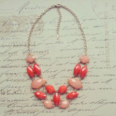 J Crew Inspired Statement Necklace, Bridesmaid Gift or Mothers Day Gift, Bib Necklace, Coral, Peach, Salmon, Chunky Necklace. $25.00, via Etsy.