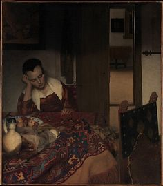 Johannes Vermeer, one of the most admired of all Dutch artists, was born on this day in 1632. This painting is probably the earliest in which the Delft painter treats his favorite theme of a young woman, occasionally with a male companion, in a domestic interior. Johannes Vermeer (Dutch, 1632–1675). A Maid Asleep, ca. 1656–57. #JohannesVermeer #TheMet