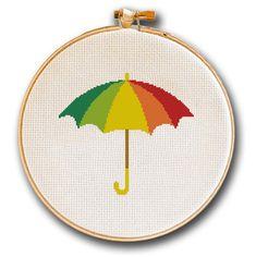 Multi Colored Umbrella Cross Stitch Pattern by LefojaCrossStitch