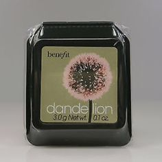 BENEFIT COSMETICS Dandelion Box o' Powder Blush What it is: A pale-pink, pressed highlighting powder that transforms your complexion from dull to radiant.   What it does: Fake awake in just one stroke with Dandelion—Benefit's long-lasting, pressed highlighting powder in ballerina-pink. Its shimmery, satiny, and radiant formula leaves an immediate perk-me-up finish that brightens up your face—even at eight in the morning. Benefit Makeup Face Powder