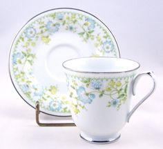Vintage Tea Cup and Saucer Noritake Blue Flower by APatriot, $12.00