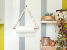 Porte essuie-tout perles en bois