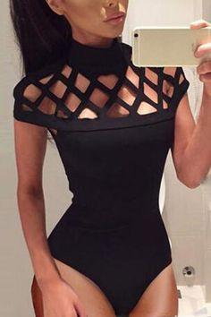 Black High-neck Hollow Details Bodysuit