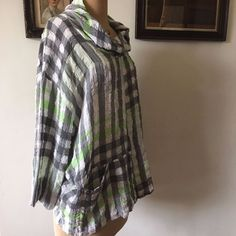 UK MEDIUM LARGE WOMENS SAHARA ARTISAN LINEN MIX TUNIC TOP BOXY GREEN GREY #Sahara #OversizedBoxy #Casual