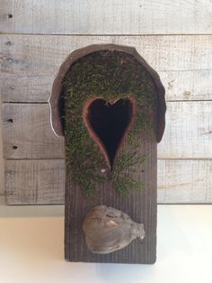 Rustic Bird House with Moss Birdhouse One of a Kind by BolinasRoad, $40.00