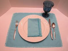 Linen Like Fabric Napkins/Placemats Place Mats with Fringed Edges - Set of 4 AQUA/Turquoise  - Eco Friendly by VKVDesigns on Etsy