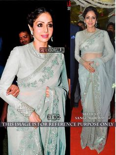 Sridevi Coral Blue Bollywood Saree Online ,Veeshack.com | Fashion for the World