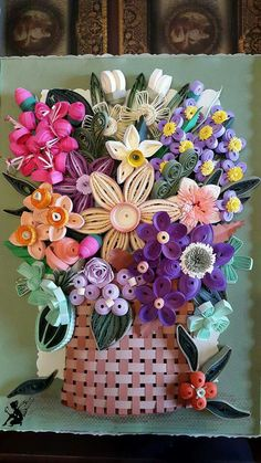 Quilled Basket with Flower Arrangement ~ April 2016 ~ The Quilling Fairies Facebook: https://m.facebook.com/The-Quilling-Fairies-1566238527024907/
