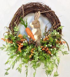 Spring Wreath, Easter Wreath, Bunny Wreath, Spring Floral, Spring Décor, Easter Décor, Bunny, Home Décor, Woodland Wreath by CrookedTreeCreation on Etsy https://www.etsy.com/listing/226059194/spring-wreath-easter-wreath-bunny-wreath