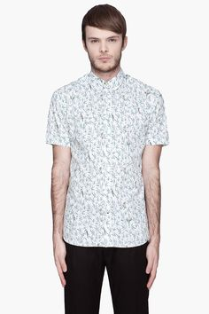 PAUL SMITH JEANS White and green parrot print shirt
