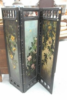 victorian dressing screens | Three panel Victorian dressing screen with hand painted flowers.