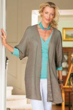 Whisper Topper - Womens Linen Cardigan, Summer Cardigan, Short Sleeve Cardigan  | Soft Surroundings