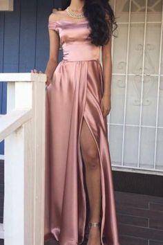 Rose Pink Off-the-Shoulder A-line Front-Slit Shiny A-line Prom Dress #Prom #Partydresses #Eveningdresses #Formaldresses #Promgowns
