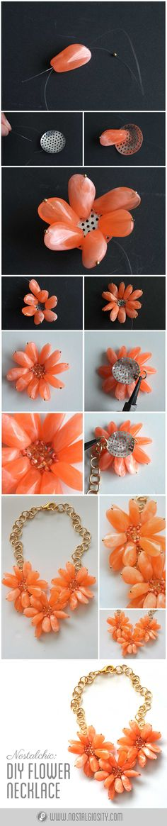 Nostalchic: DIY Flower Statement Necklace | Nostalgiosity - Nostalgia Meets Curiosity ❤  #necklace #statement #jewelry #diy #fashion #style #coral #beading #beads