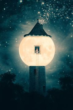 The Moon Tower Art Print by Paula Belle Flores | Society6: