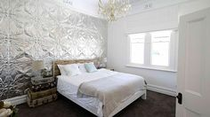 House Rules - Bomber and Mel's Master Bedroom.  Charlton Pattern Pressed Metal - 1830 x 610mm