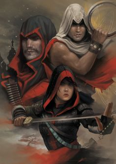 Assassin's Creed Chronicles  protagonists(clockwise) Arbaaz Mir, Shao Jun, Nikolai Orelov.  tumblr_nn5gv6oOyD1qk1m72o1_500.png (500×707)
