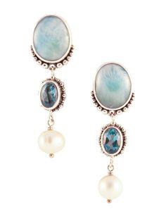 Zilveren oorbellen met larimar, topaas en parels