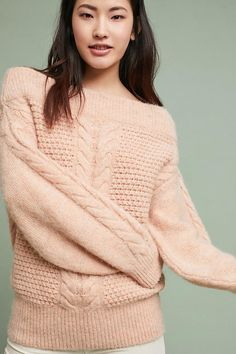 Slide View: 1: Off-The-Shoulder Cableknit Sweater