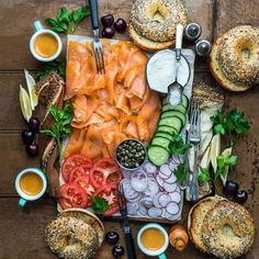 You're awesome - have the best day! Hit my cookbook EAT DELICIOUS for brunch love (like wicked cured salmon. Lox And Bagels, Healthy Snacks, Healthy Recipes, Good Food, Yummy Food, Food Platters, Food Presentation, Brunch Recipes, Food Porn