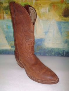 Clemente dark orange cowboy western boots beautiful design and color man size 9 12 .