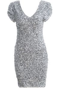 Silver V Neck Short Sleeve Sequined Dress  All I can see is new year's eve!!!