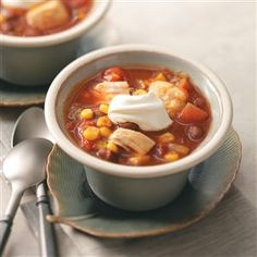 Mexican Chicken Chili Recipe -Corn and black beans give this satisfying chili Mexican flair the whole family will love. Adjust the cayenne if you have small children or are looking for a little less zip. —Stephanie Rabbitt-Schappacher, West Chester, Ohio