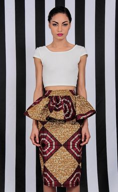 buy african print shit here.demestiks by reuben reul.NEW The Kait Peplum Skirt African Inspired Fashion, African Print Fashion, Africa Fashion, Ethnic Fashion, Fashion Prints, Fashion Design, African Prints, African Attire, African Wear