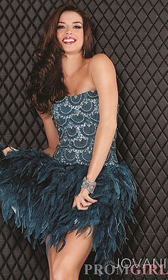 gatsby style homecoming dresses | strapless formal dress truly over the top! This teal short dress ...