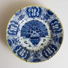 "Dutch Delft blue and white plate painted with peacock design. Signed by ""De Porceleyne Lampetkan"". Circa 1775."