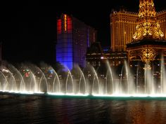 water fountains at night | ... to watch the water dance to the music i think it is prettier at night