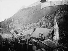 Maisons de la rue Champlain, à Québec, détruites par le glissement rocheux survenu en 1889.