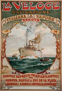 1889. La Veloce navigazione italiana a vapore GENOVA servizi expressi transattantici Genova, Napoli, El Rio de la Plata,.. America Centrale & New York