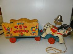 Vintage 1940's Wooden Fisher Price #171 The Toy Wagon Pull Toy