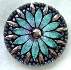 LG Czech Glass Button - Ice Blue Mirror Back Daisy Button w/ Faceted Silver Luster Rim