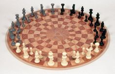 Cleverly handcrafted 3-person chess board
