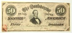 1864 Fifty Dollar 50 Bill Confederate States Obsolete Currency Note Richmond   eBay